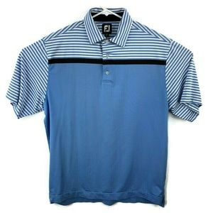 Footjoy Mens Large Blue Golf Polyester Polo Shirt